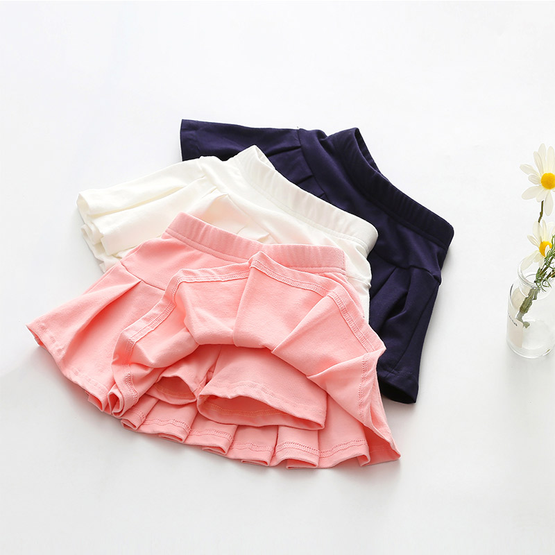 Girls Cotton Pleated Skirt Shorts 2018 Summer New Female Baby Girl Dancing Skirt Security Divided Pants Child Skirts Bottom knot side pleated skirt