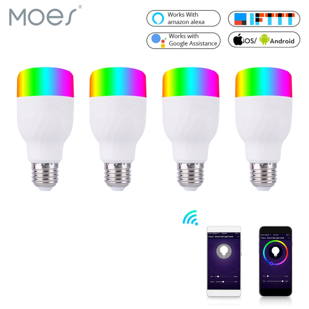 WiFi Smart Light Bulb Intelligent Colorful LED Lamp 7W RGBW APP Remote Control Works with Alexa Google for Smart Home E27 E26