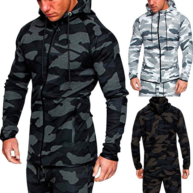 2018 New Fashion Men Camouflage Sets Men Long-Sleeved Hoodies+pants Two-piece Male Tracksuit Mens Casual Sportswear Suits