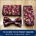 Красный Многоцветный Пейсли Мужские Тощий Tie Наборы Карманный Площадь Регулируемая Предварительно связали галстук-Бабочку Устанавливает Шелковые Галстуки Платок