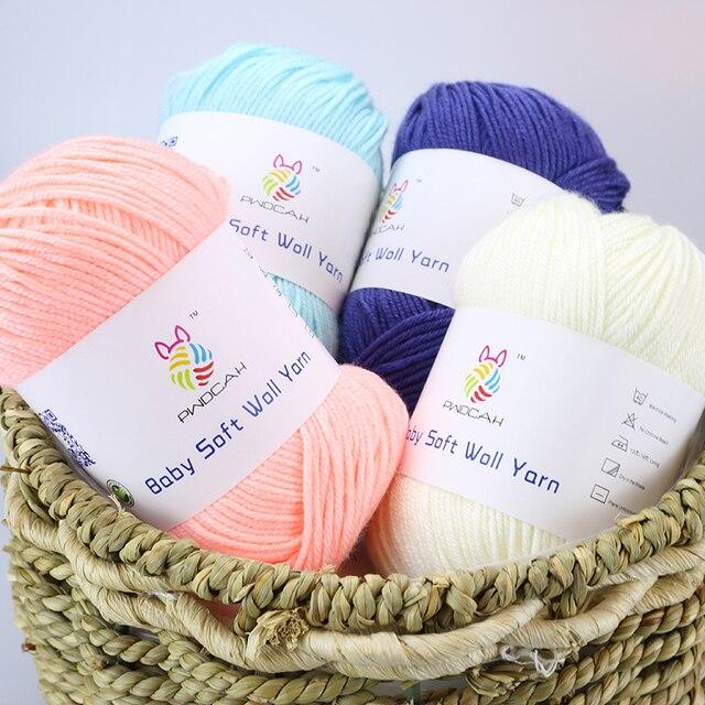 Fil Crochet en Laine mérinos bébé | Laine de cachemire, soie pour tricot à la main, vente pull en fil épais coton crocheté, couverture