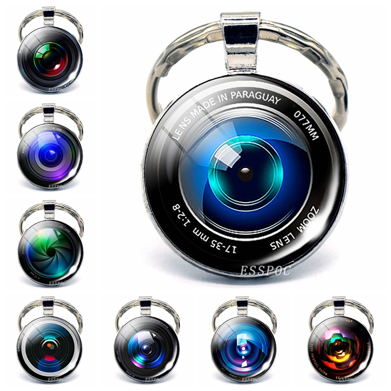 """Silver plated 18/"""" chain and pendant necklace with glass cabochon CAMERA LENS"""