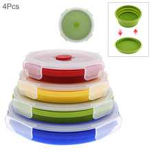 4pcs/set 350 / 500 800 1200 ML Portable Circular Silicone Scalable Folding Collapsible Lunchbox Bento Box with Sealing Plug