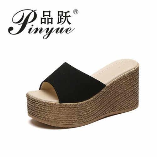 89132edf34b74b ... Летние женские сабо на танкетке сандалии садовая обувь ручной работы  искусственный жемчуг тапочки желе цвет повседневные