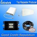 2017 lintratek gsm 900 mhz 3g umts 2100 mhz sinal de banda dupla reforço de Dois Monitores LCD Repetidor de Sinal de Telefone Móvel 3G Antena Kits