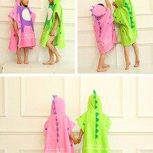 3 цвета, размеры S, L, банное полотенце с капюшоном для малышей, хлопковое Впитывающее пляжное банное полотенце с динозавром, розовый банный халат с динозавром