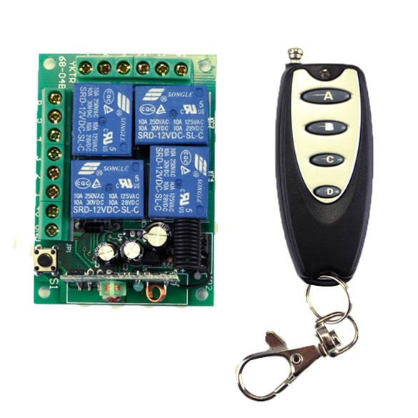 New DC 12V Wireless Remote Control Switch Module & 4 Button Car Wireless Remote Control AK-RK04S-12+AK-JF04 small relays wireless rc switch button signal line on off dc3 7 5v 12v controller remote control module