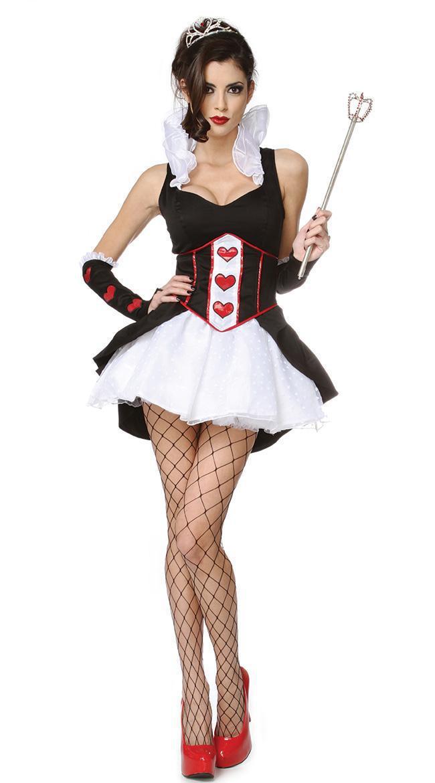 Ladies Queen Of Hearts Fancy Dress Costume Fairytale Alice In Wonderland