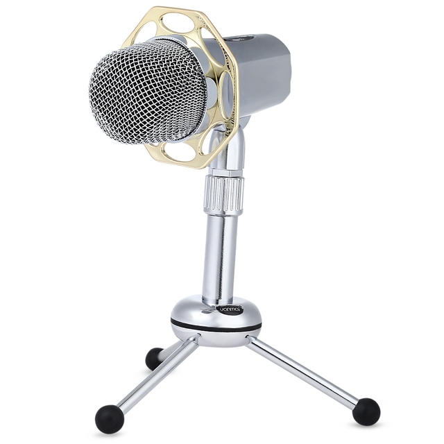 Professional High sensitivity Wired Condenser silver Microphone+Tripod Support Adjustable for chatting over QQ MSN Skype singing