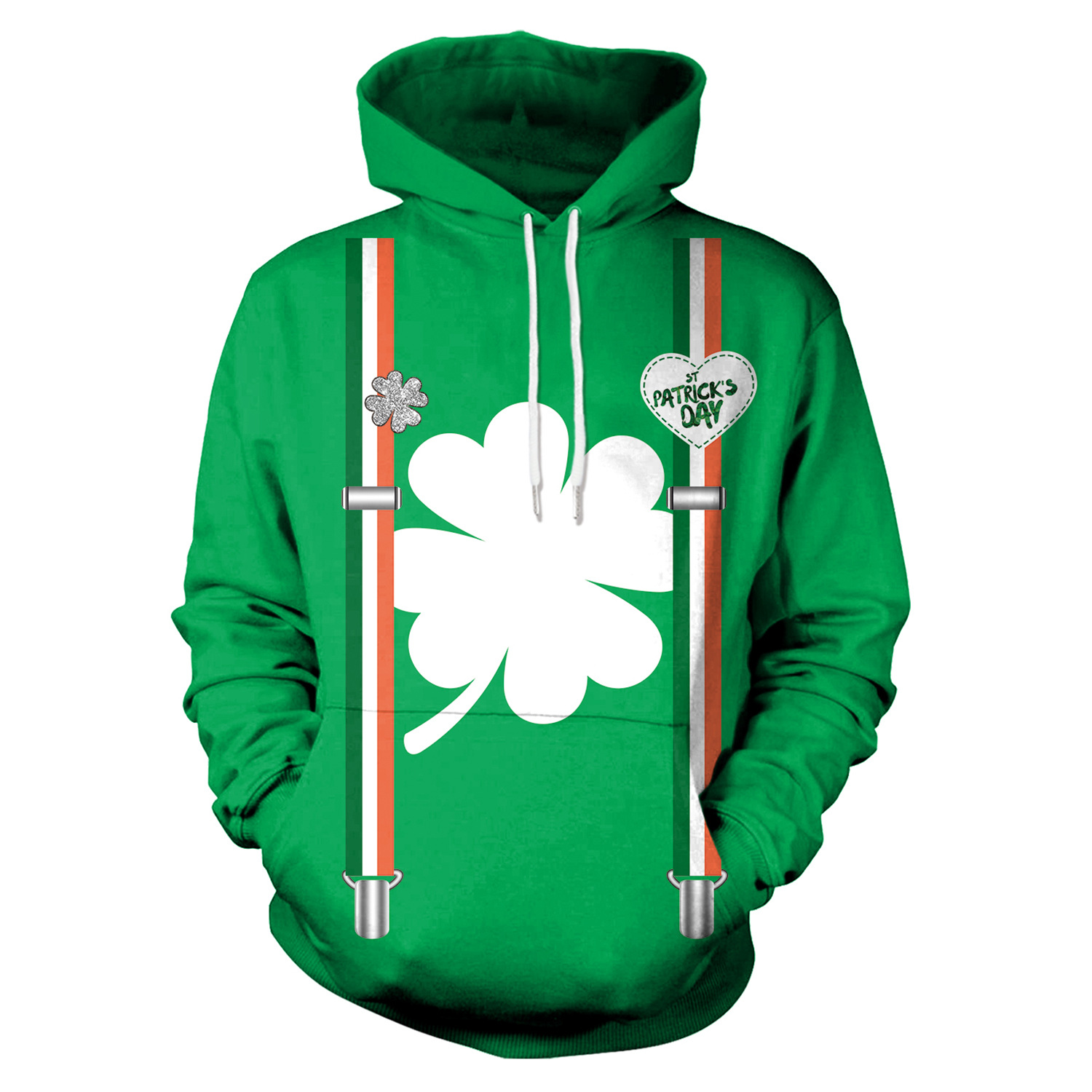 St Patrick's Day White Shamrocks Print Green Hoodies Men Hoodie with Hat Round Neck Loose Sweatshirt Pullover Streetwear