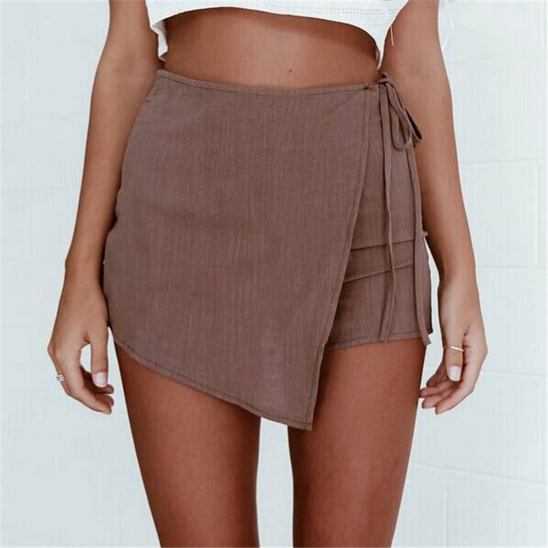 Fashion Loose Casual Solid Shorts Women Slim High Waist Short  Zipper Back Irregular Sexy Shorts Womens Clothing