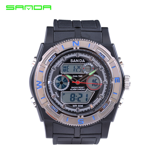 High Quality Watches SANDA Men Luxury Brand LED Digital Analog Multi Function Watches Sport Military Watch Men Relogio Masculino