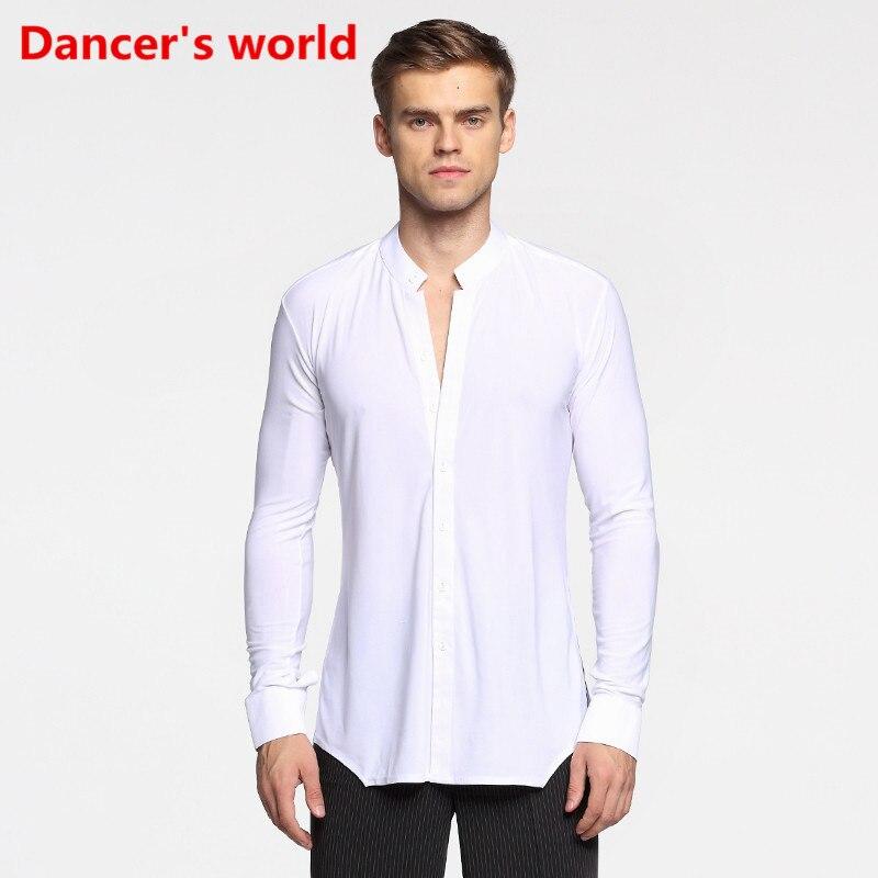Long Sleeve Button Mens Latin Shirts Dance Top Ballroom Dancewear Latin Dance Costumes Stage Clothing For
