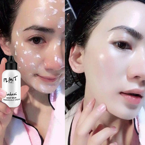 Image 1 - Lazy Face Foundation Cream Goat Milk Revitalizing Full Coverage Waterproof Professional Makeup Base Brighten Cover Dark Circles
