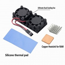 2 sets Gdstime Copper Heatsink with Dual Cooling Fan For Raspberry Pi 3 Model B+ (Plus) , B, B