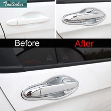 Tonlinker 2 PCS Car Styling DIY ABS Chrome reversing mirror light strip cover case Stickers for