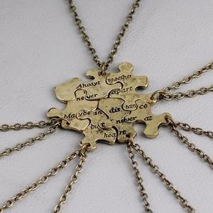 Custom 6 pcs/set Vintage Interlocking Jigsaw Puzzle BFF Necklaces Always together never apart Best Friends Necklace(China)