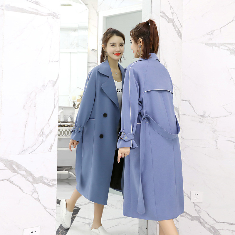 2018 Autumn Women Trench Coat Double-Breasted Solid Splice Outwear Long Female Windbreaker British Style Casaco Feminino S15