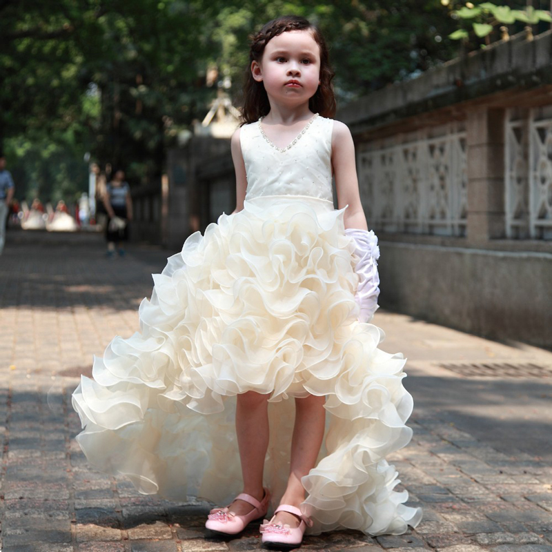 New Arrival Elegant Girls Pageant Dresses Sleeveless V-Neck Beading High Low Ruffles Princess Wedding Gown Vestidos Longo v neck tank top with ruched ruffles