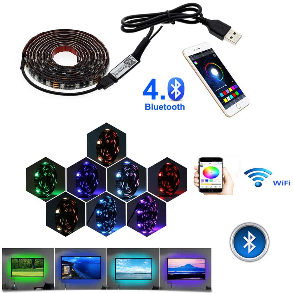 USB LED Strip RGB Tape 5050 SMD Bluetooth 5 V Volt TV Backlight Tahan Air Bias Lampu 5 V Pita Ambilight remote Lampu Strip