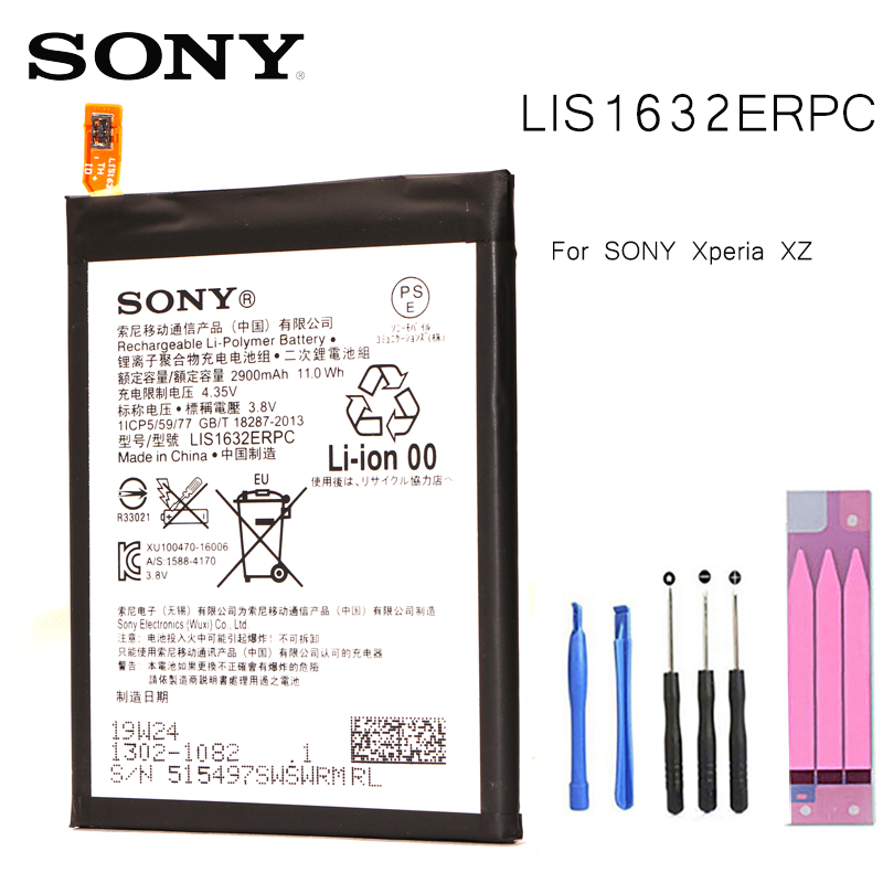 Original Replacement Battery For SONY Xperia XZ F8331 F8332 DUAL LIS1632ERPC Genuine Phone Battery 2900mAh