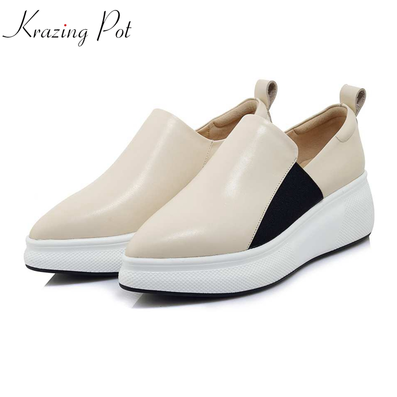 купить Krazing Pot 2018 genuine leather flat platform loafers superstar pointed toe simple design women sneakers vulcanized shoes L3f1 по цене 3571.91 рублей