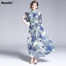 Runway 2019 Summer Designer Women Dress Elegant Floral Print Stand Neck Long Maix With Sashes Bohemian Chic