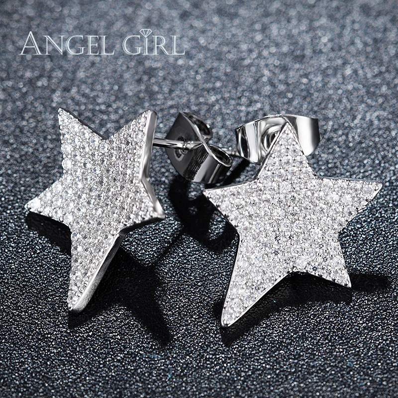2e533348f Angel Girl Star Shaped Design Paved CZ Party Earrings for Women White Gold  Color Stud Earrings Hot Sales Bijoux E0004 WW-in Stud Earrings from Jewelry  ...