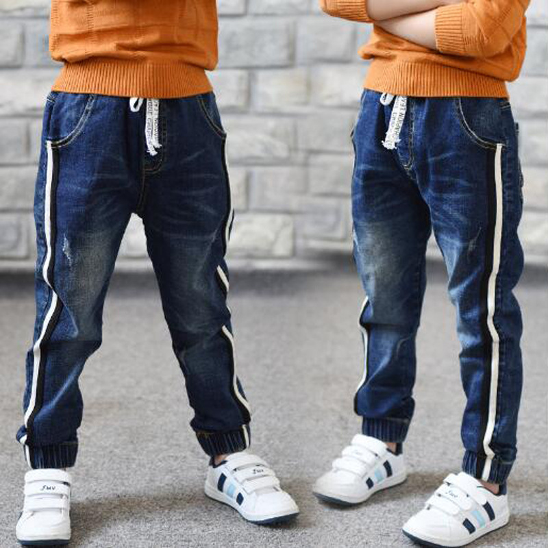 Hot Sale 2019 Autumn New Kids Jeans Elastic Waist Stretch Denim Pants Children Clothing For 4-14Yrs Big Virgin Korean Pants Feet(China)