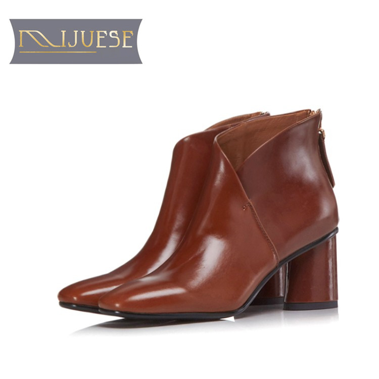 MLJUESE 2018 women ankle boots cow leather camel color autumn spring ankle boots female boots Equestrian boots party dress