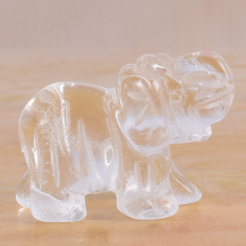Natural Stone And Crystal Elephant Figurines Glass Mini Animals