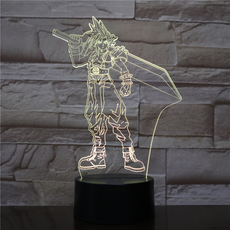 Sora Figure USB 3D LED Night Light Multicolor RGB decorative lights Boys Kids Baby Gifts Game Kingdom Hearts Table Lamp Bedside