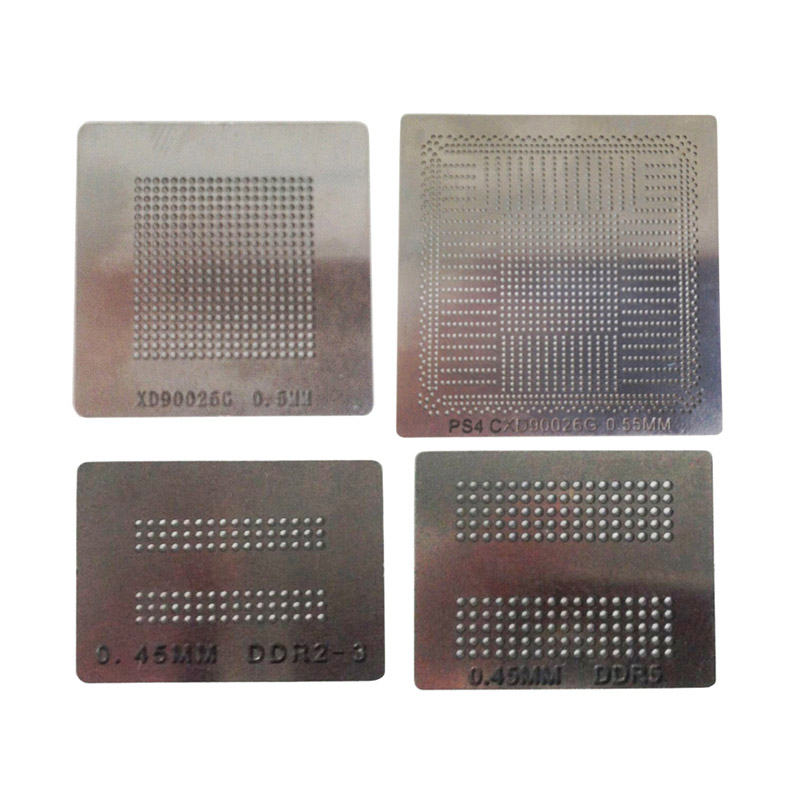 4pcs/set BGA Reballing Stencils 0.60mm 0.55mm 0.45mm Direct Heating Solder Ball Steel Template For PS4 IC Reball Station
