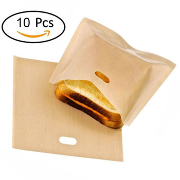 10Pcs/set Toaster Bags Non-Stick Reusable Home Kitchen Grilled Cheese Sandwiches Bread Bags Microwave Oven Toaster Accessories Тостер
