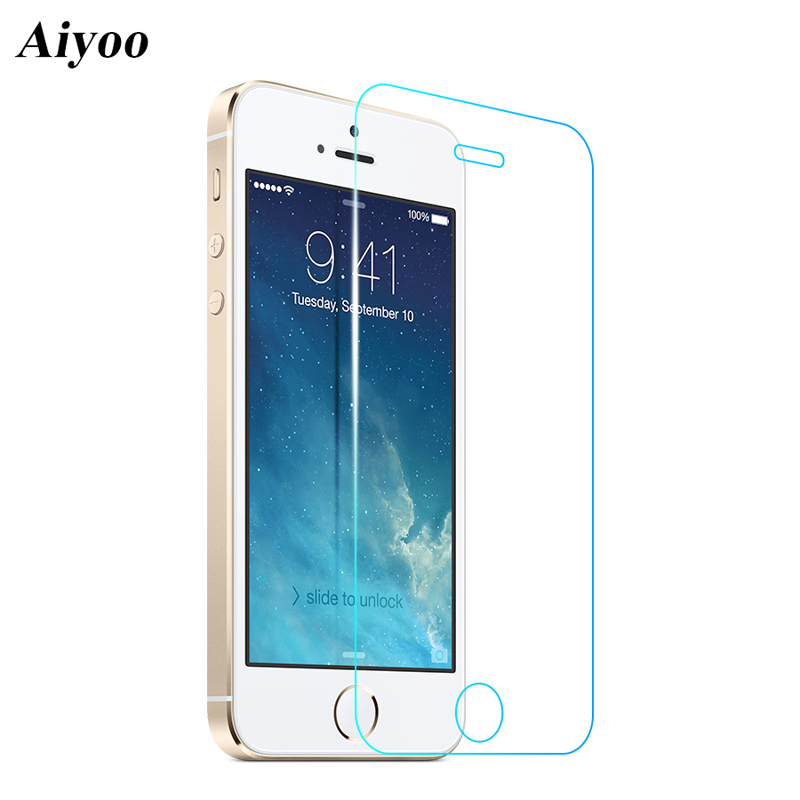 For Apple iPhone 5S Tempered Glass Screen Protector for iPhone SE 5 5C 9H 0.3mm 2.5D Anti-Scratch Protective Film+Cleaning Kits