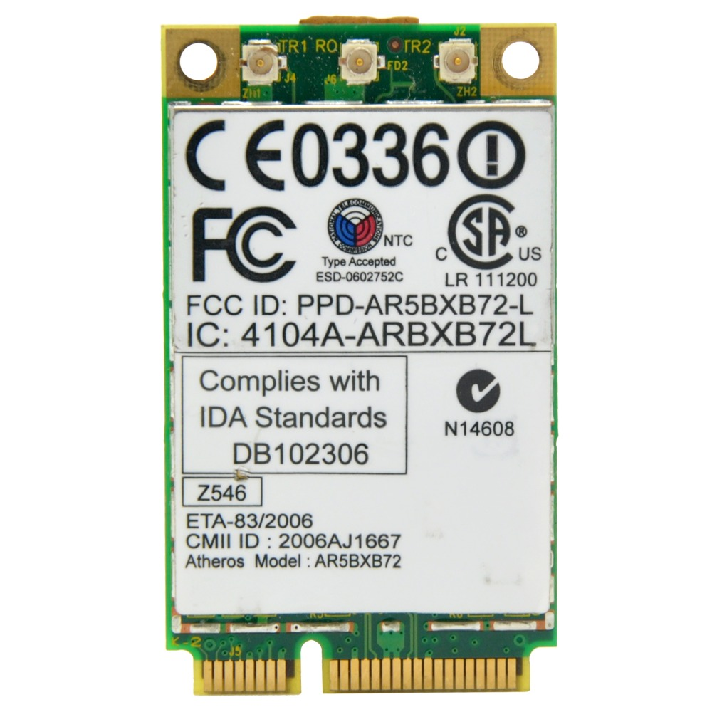 US $5 9  Qualcomm Atheros AR5418 AR5008 AR5BXB72 Dual Band 300Mbps Mini PCI  e Adapter Wireless Wifi Card for X60 X60S X61 R60 R60 T60-in Network Cards