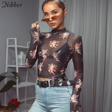Nibber women Cute Cupid print crop tops T-shirt fashion sweet Elastic Slim Turtleneck 2019 new lady trend hot sale wild tops