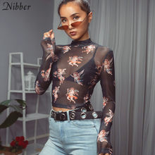 Nibber women Cute Cupid print crop tops T-shirt fashion sweet Elastic Slim Turtleneck 2019 new lady trend hot sale wild tops(China)