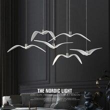 Noir et blanc créatif pendentif LED lumières mouette Suspension lampe Bar salle à manger Suspension luminaire cuisine luminaires