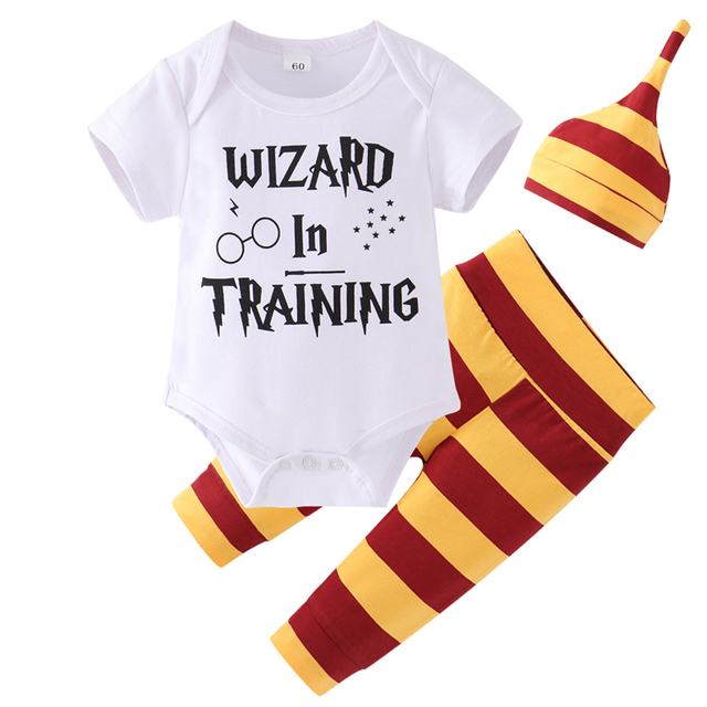 "3PC Wizard Themed Outfit ""Snuggle this Muggle"" - Bodysuit + Striped Pants + Striped Hat 1"