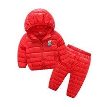 2PCS/Sets Winter Kids Down Cotton Parkas&Pants Girls Boys Clothing Sets 2-9Y Children's Thermal Jacket Brand Clothes