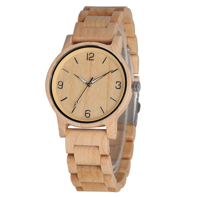 Natural Ebony Luminous Pointers Wood Watch Clock for Women Men All Wooden Quartz Watch Movement Casual Hands Wooden Wristwatch | Fotoflaco.net