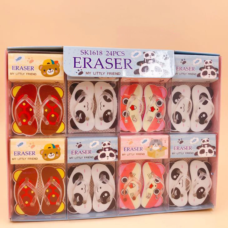 3 Pairs Cartoon Mini Animals Panda Bear Cat Slippers Design Rubber Pencil Erasers Correction Eraser Student Korean Stationery