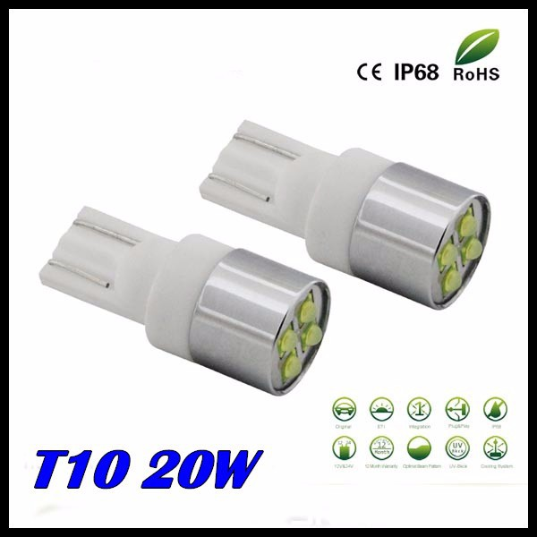 Free shipping 10pcs/lot t10 w5w led high power Super Bright 20W CREE chips LAMP  T10 LED Reverse Backup Lights, Parking Lights north america free shipping super bright 54w led corn light waterproof 100v 300v ul certified 12pcs lot for art museum