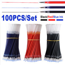 100PCS/Set 0.5mm Neutral Gel Pen Refill Signature Rods Black Blue Red Ink Bullet Point Tip Office School Stationery Writing Tool цены