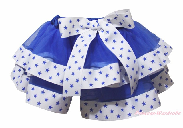 4th July Royal Blue White Star Trimmed Dance Tutu Baby Girl Skirt NB-8Year