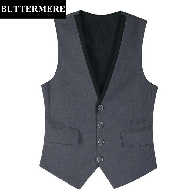 Formal Suit Vest Men's Grey Black Wedding Waistcoat New Design Business Style Sleeveless Suit Jacket Serge Cotton Gilet