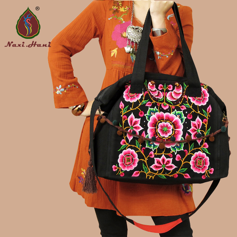 Naxi.Hani Ethnic handmade sequins embroidery Shoulder Bags Vintage Black canvas Messenger Bags Fashion large Casual bags original ethnic embroidered women handbag vintage handmade tassel shoulder bags black canvas casual large bags