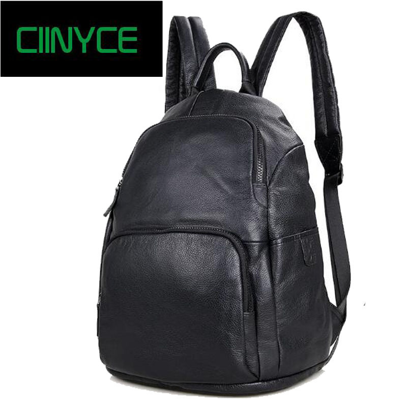 Men's crazy horse back pack Multifunctional genuine leather 14 Laptop rucksack Cowhide Skin school Casual shoulder bag men s black soft cowhide back pack multifunctional genuine cow leather12 9 inches laptop rucksack male schooltravel shoulder bag