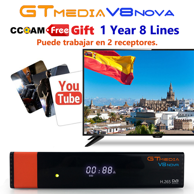 DVB-S2 Gtmedia V8 Nova CCcam Built in WIFI Satellite Receiver GT media V8 nNva Blue Receptor with Europe lines for 1 year